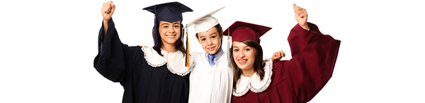 Photo of three students attending the graduation ceremony