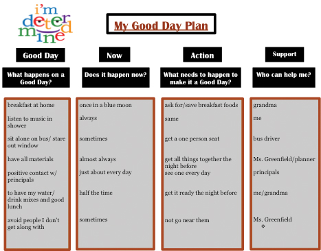 behavior change plan template - making it count using the good day plan to support